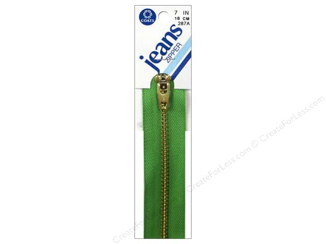 Coats & Clark #4 Brass Jean Zipper 7 in. Bright Green