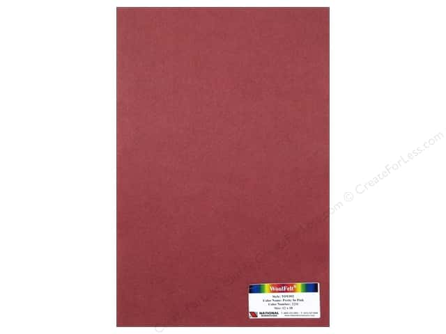 National Nonwovens 35% Wool Felt 12 x 18 in. Pretty In Pink (12 sheets)