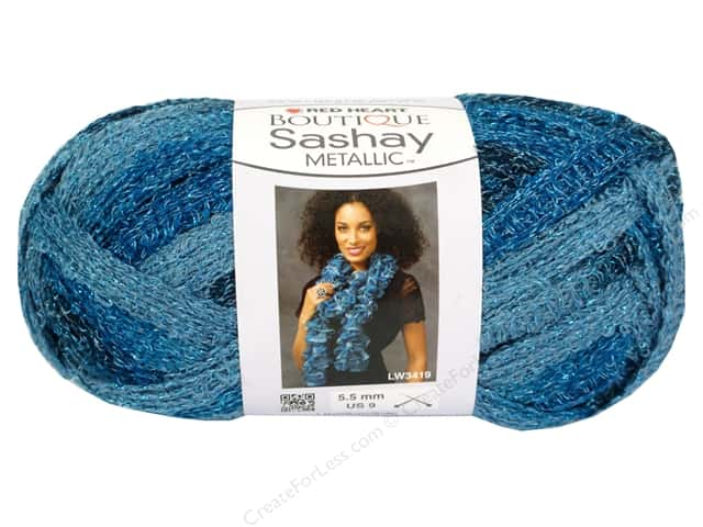 Red Heart Boutique Sashay Yarn #9951 Metallic Aquamarine 30 yd.
