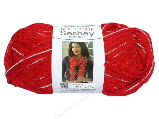 Red Heart Boutique Sashay Yarn #1929 Sparkle Red Hot 35 yd.