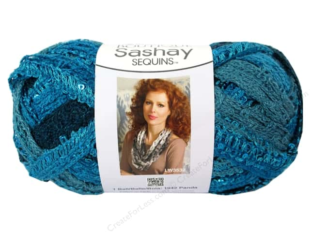 Red Heart Boutique Sashay Yarn #1948 Sequin Mediterranean 20 yd.