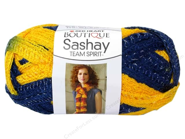 Red Heart Boutique Sashay Team Spirit Yarn #0980 Navy/Gold 30 yd.