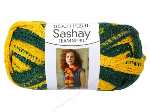 Red Heart Boutique Sashay Team Spirit Yarn #0948 Green/Gold 30 yd.