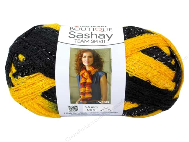 Red Heart Boutique Sashay Team Spirit Yarn #0936 Gold/Black 30 yd.