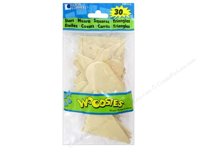 Woodsies Wood Shapes Jumbo Stars/Hearts/Squares/Triangles 30 pc.