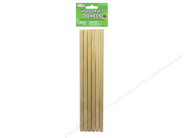 "Multicraft Krafty Kids Wood Dowel 3/8""x 12"" Natural 6pc"
