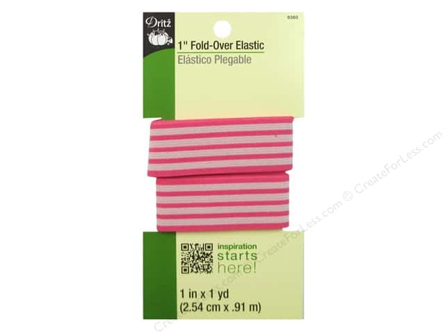 Dritz Fold-Over Elastic 1 in. x 1 yd. Stripe Coral/Tan