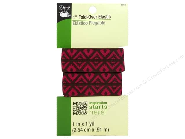 Fold-Over Elastic by Dritz 1 in. x 1 yd. Foulard Design Brown