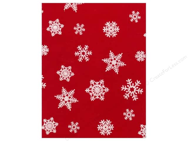 Kunin Felt 9 x 12 in. White Snowflake Red (24 sheets)