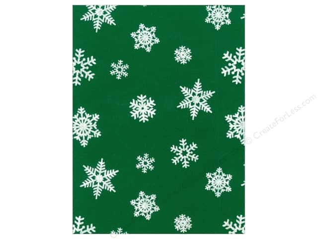 Kunin Felt 9 x 12 in. White Snowflake Pirate Green (24 sheets)