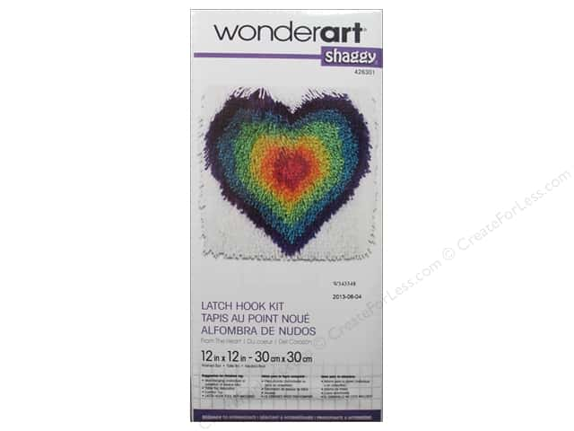 Wonderart Latch Hook Kit 12 x 12 in. Shaggy From The Heart