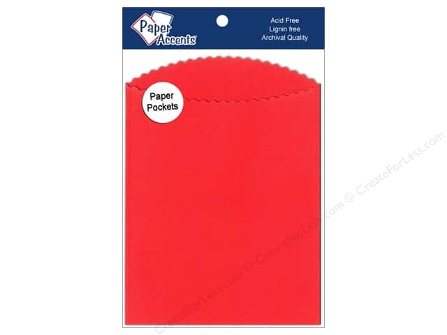 Paper Accents Pocket 4 1/4 x 5  1/2 in. Red 10 pc.