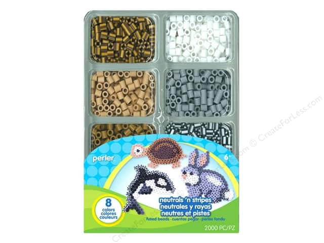 Perler Mini Bead 2000 pc. Neutrals N Stripes Assorted Colors Tray