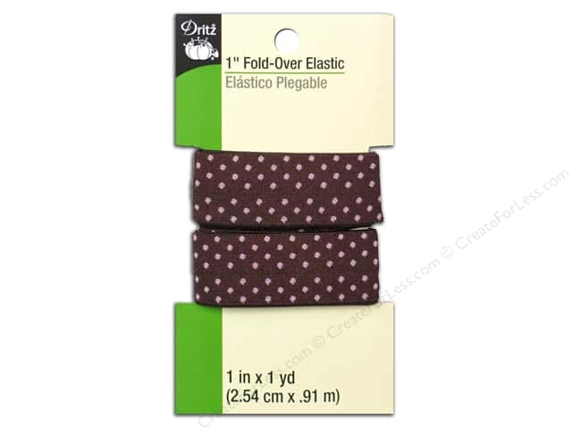 Fold-Over Elastic by Dritz 1 in. x 1 yd. Brown Dot