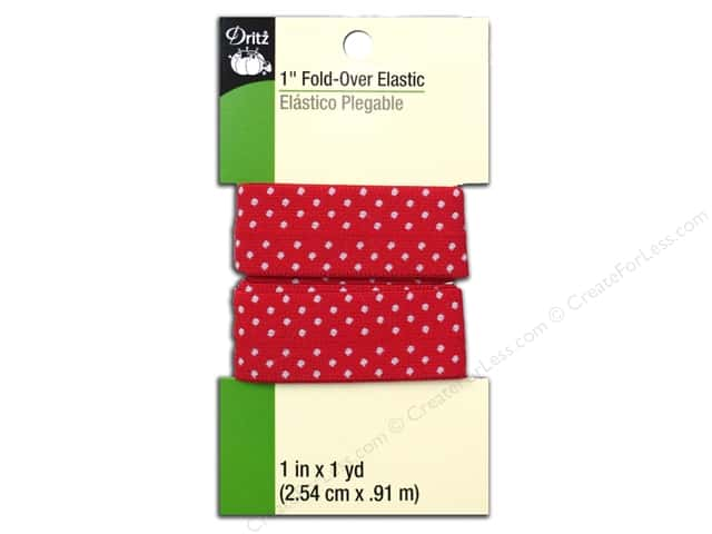 Fold-Over Elastic by Dritz 1 in. x 1 yd. Red Dot