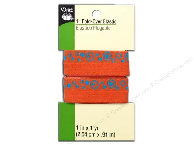 Fold-Over Elastic by Dritz 1 in. x 1 yd. Orange Print