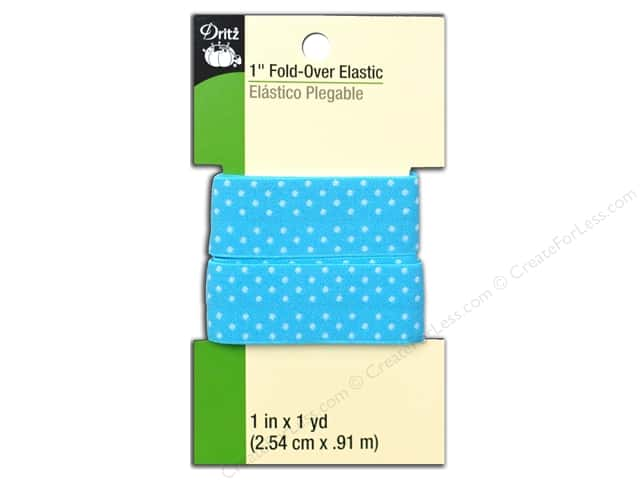 Fold-Over Elastic by Dritz 1 in. x 1 yd. Blue Dot