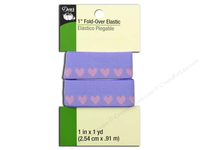 Fold-Over Elastic by Dritz 1 in. x 1 yd. Purple Hearts