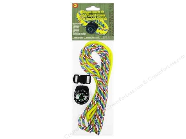 Pepperell Parachute Cord Accessories Compass Bracelet Kit Yellow/Rainbow