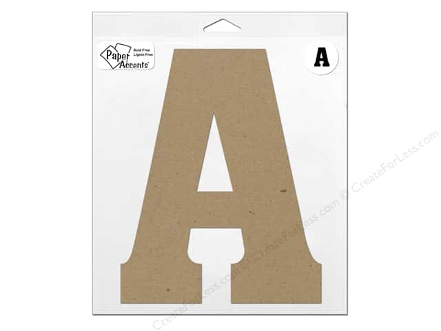 "Paper Accents Chipboard Shape Letter ""A"" 11 in. 1 pc. Kraft"