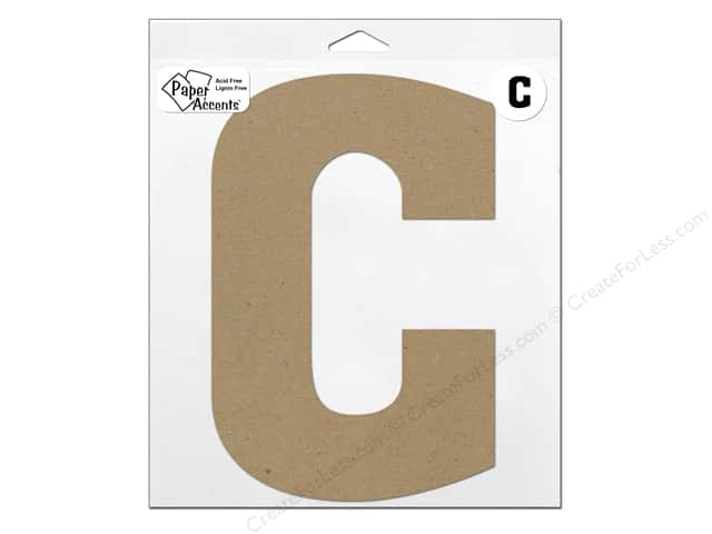 "Paper Accents Chipboard Shape Letter ""C"" 11 in. 1 pc. Kraft"