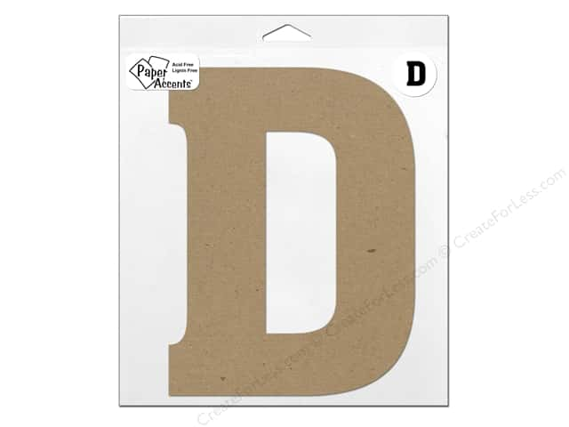 "Paper Accents Chipboard Shape Letter ""D"" 11 in. 1 pc. Kraft"