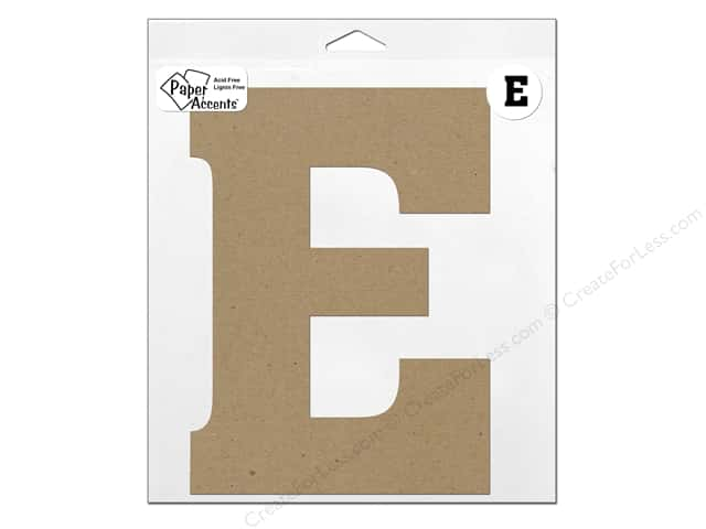 "Paper Accents Chipboard Shape Letter ""E"" 11 in. 1 pc. Kraft"