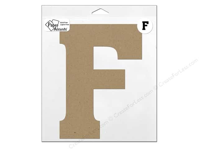 "Paper Accents Chipboard Shape Letter ""F"" 11 in. 1 pc. Kraft"