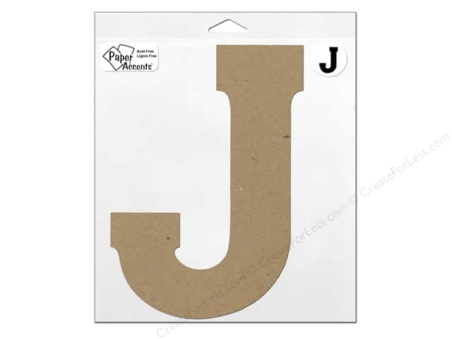 "Paper Accents Chipboard Shape Letter ""J"" 11 in. 1 pc. Kraft"