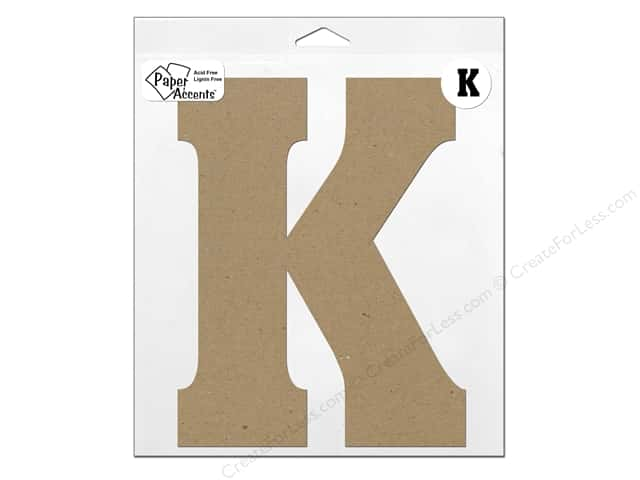"Paper Accents Chipboard Shape Letter ""K"" 11 in. 1 pc. Kraft"
