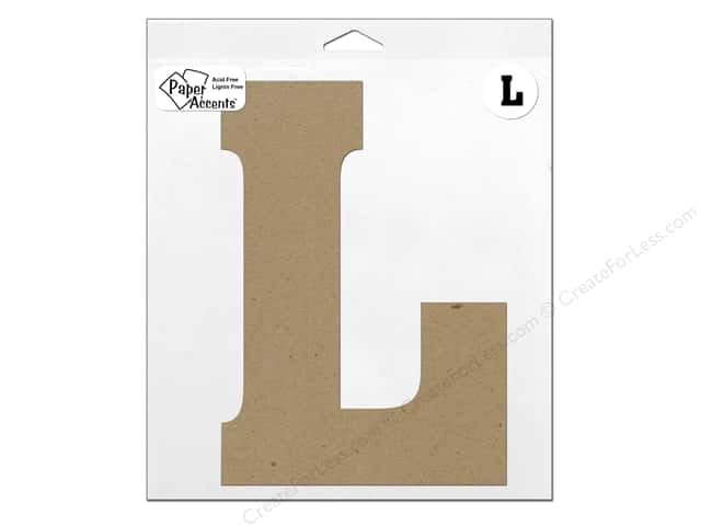 "Paper Accents Chipboard Shape Letter ""L"" 11 in. 1 pc. Kraft"