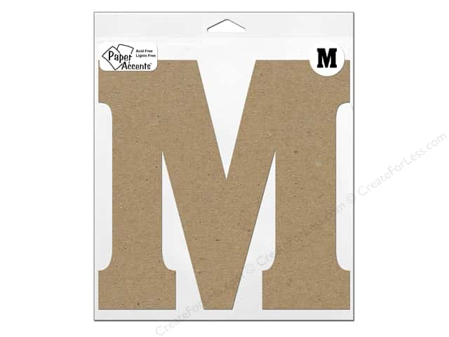"Paper Accents Chipboard Shape Letter ""M"" 11 in. 1 pc. Natural"