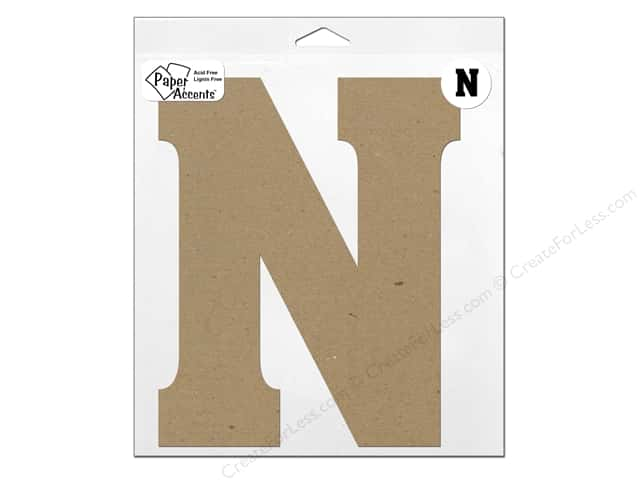 "Paper Accents Chipboard Shape Letter ""N"" 11 in. 1 pc. Natural"