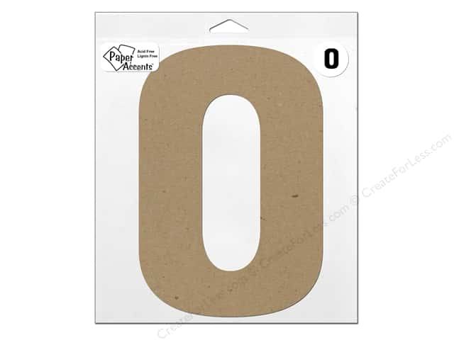 "Paper Accents Chipboard Shape Letter ""O"" 11 in. 1 pc. Kraft"