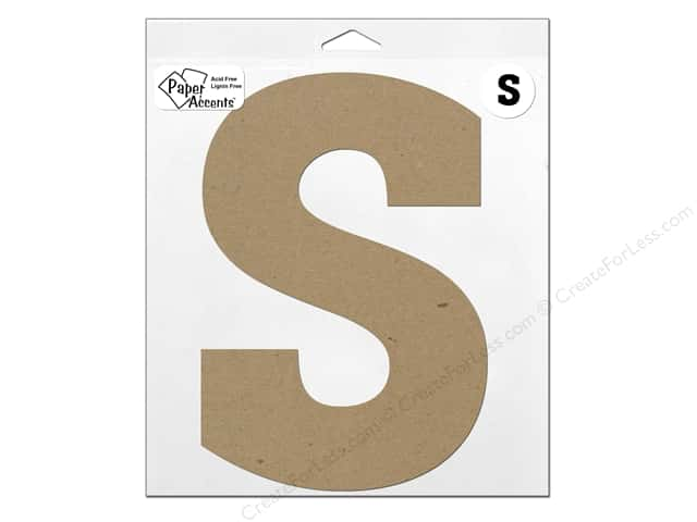 "Paper Accents Chipboard Shape Letter ""S"" 11 in. 1 pc. Kraft"