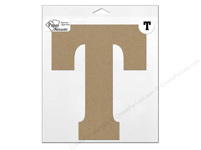 "Paper Accents Chipboard Shape Letter ""T"" 11 in. 1 pc. Natural"
