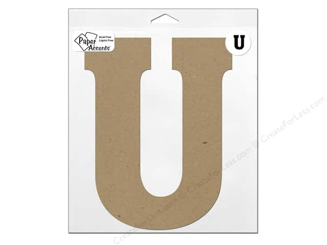 "Paper Accents Chipboard Shape Letter ""U"" 11 in. 1 pc. Kraft"