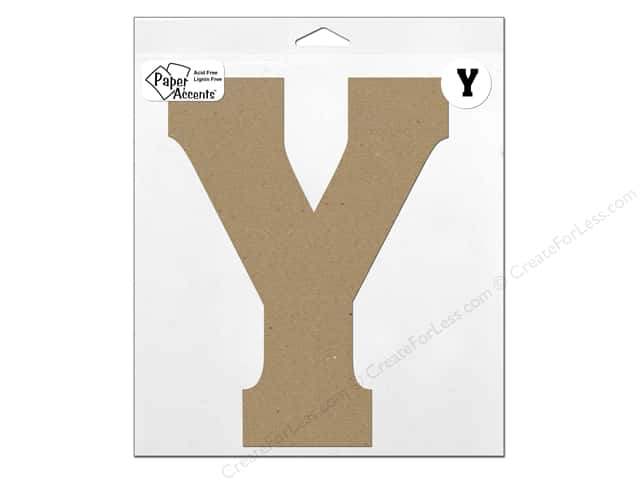 "Paper Accents Chipboard Shape Letter ""Y"" 11 in. 1 pc. Natural"