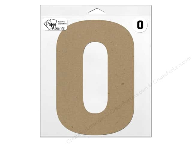 """Paper Accents Chipboard Shape Number """"0"""" 11 in. 1 pc. Natural"""