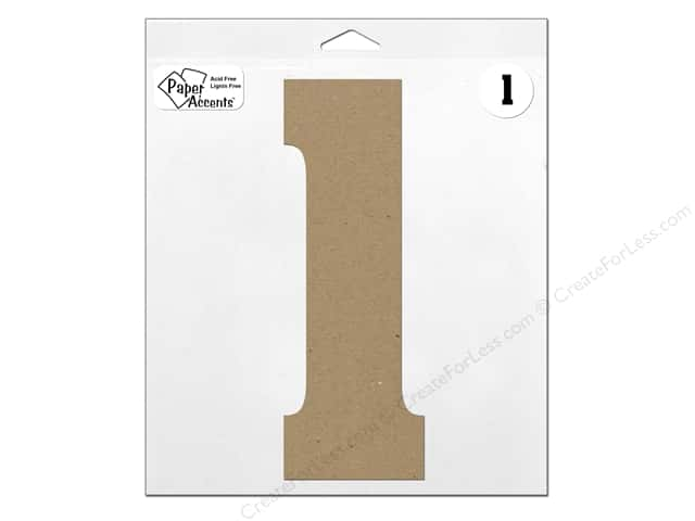 "Paper Accents Chipboard Shape Number ""1"" 11 in. 1 pc. Natural"