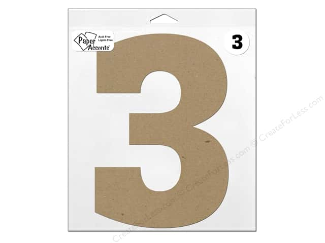 "Paper Accents Chipboard Shape Number ""3"" 11 in. 1 pc. Natural"