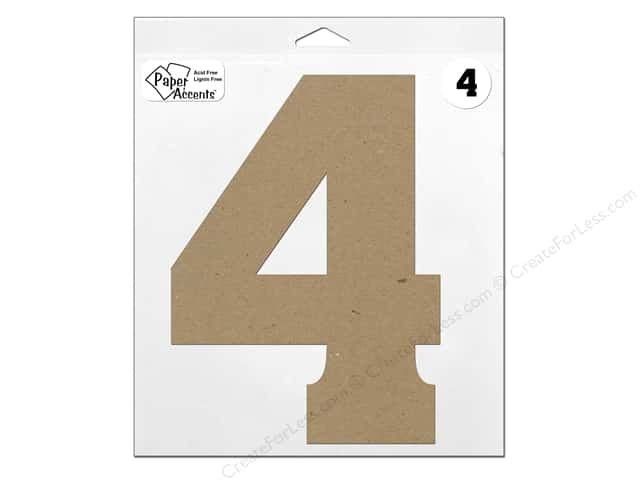 """Paper Accents Chipboard Shape Number """"4"""" 11 in. 1 pc. Natural"""
