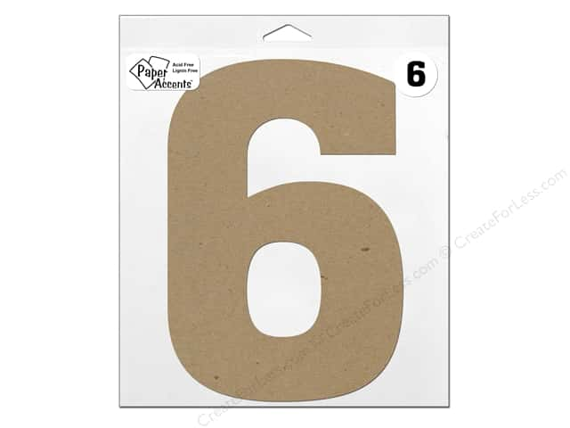 "Paper Accents Chipboard Shape Number ""6"" 11 in. 1 pc. Natural"