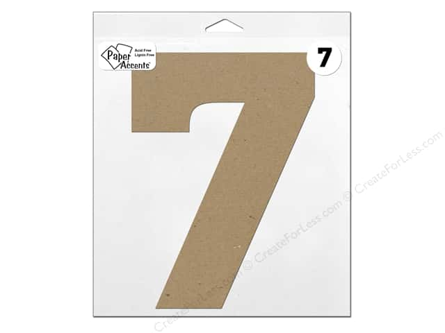 "Paper Accents Chipboard Shape Number ""7"" 11 in. 1 pc. Natural"