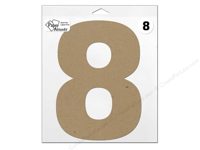 """Paper Accents Chipboard Shape Number """"8"""" 11 in. 1 pc. Natural"""