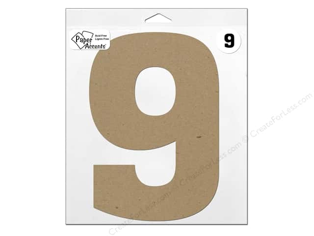 """Paper Accents Chipboard Shape Number """"9"""" 11 in. 1 pc. Natural"""