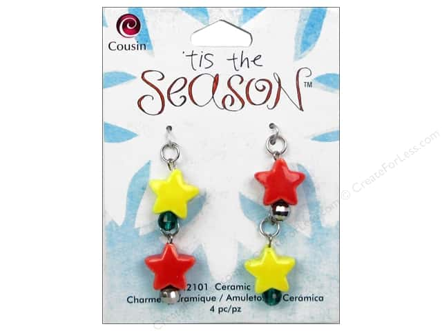 Cousin Tis The Season Christmas Charm Ceramic Stars 4pc