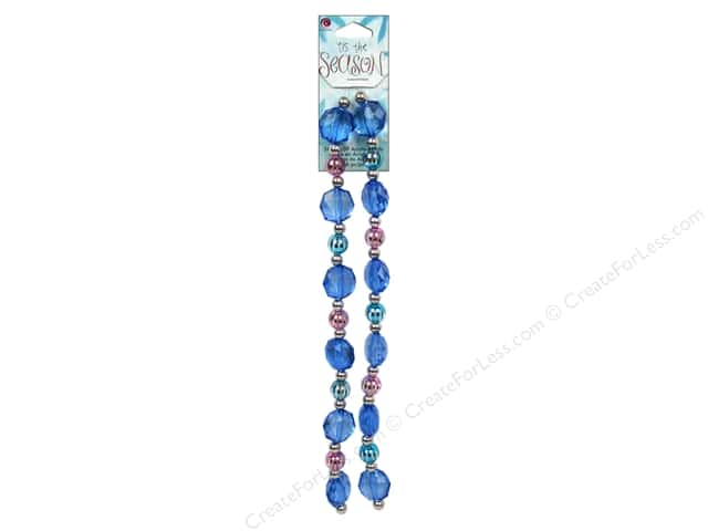 Cousin Tis The Season Christmas Bead Strand Acrylic Blue/Pink 46pc