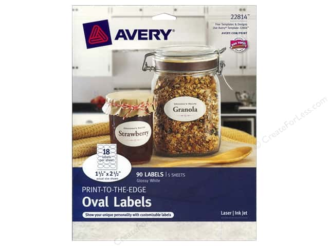 Avery Print-To-The Edge Oval Labels 1 1/2 x 2 1/2 in. Glossy White 90 pc.