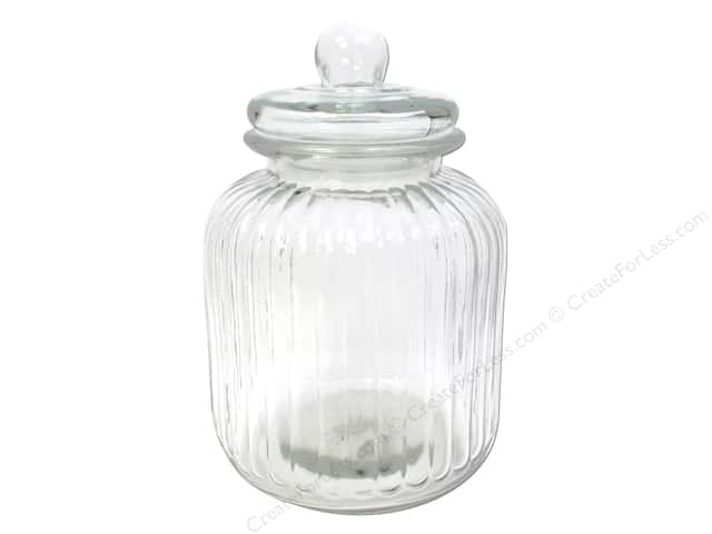 Sierra Pacific Storage Glass Jar Ribbed Round with Lid Clear 6.5 in. x 10.5 in. (6 pieces)